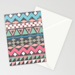 Vintage Wood Aztec, Andes Teal & Pink Abstract Pattern Stationery Cards