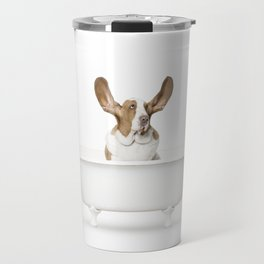 Basset Hound in Vintage Bathtub Travel Mug