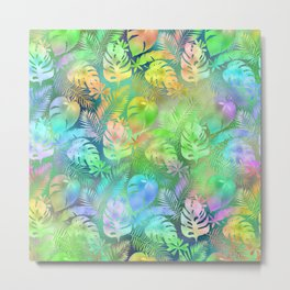 Iridescent Tropical Leaves in Aquas, Greens and Yellows Metal Print