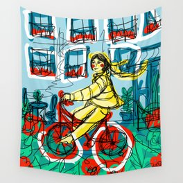 Bicycle Girl Wall Tapestry