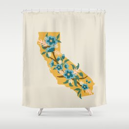 The Golden State of Flowers Shower Curtain
