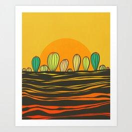Cactus and sunset Art Print