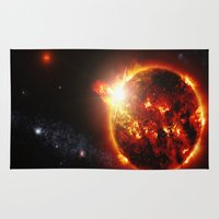 planet Area & Throw Rugs featuring Galaxy : Red Dwarf Star by 2sweet4words Designs