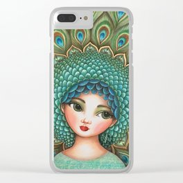 Peacock girl Clear iPhone Case