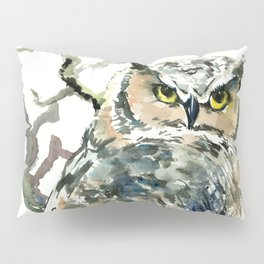 Great Horned Owl in Woods, woodland owl Pillow Sham