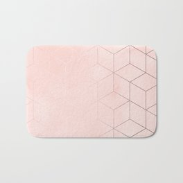 Rosegold Pink Geometric Blocks Bath Mat