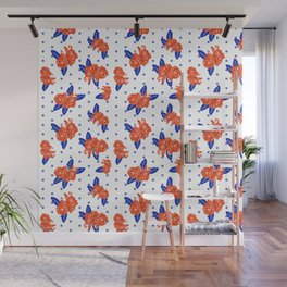 Florida fan gators university orange and blue team spirit football college sports florals dots Wall Mural