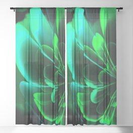 Stylized Half Flower Green Sheer Curtain