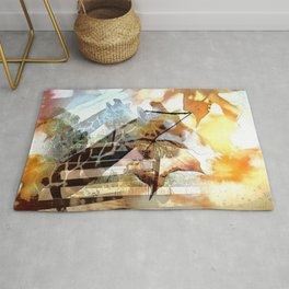 Giraffes in the Shadow of Fall Leaves Rug