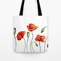 poppies Tote Bags featuring Poppies by Julia Badeeva