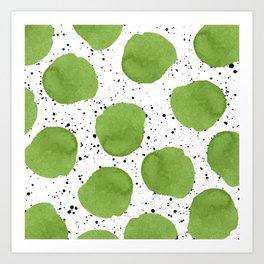 Modern green watercolor polka dots black brushstrokes greenery color of the year pattern Art Print