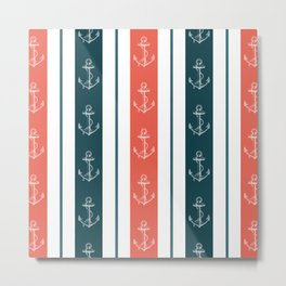 Nautical Anchor and Stripe Pattern Metal Print