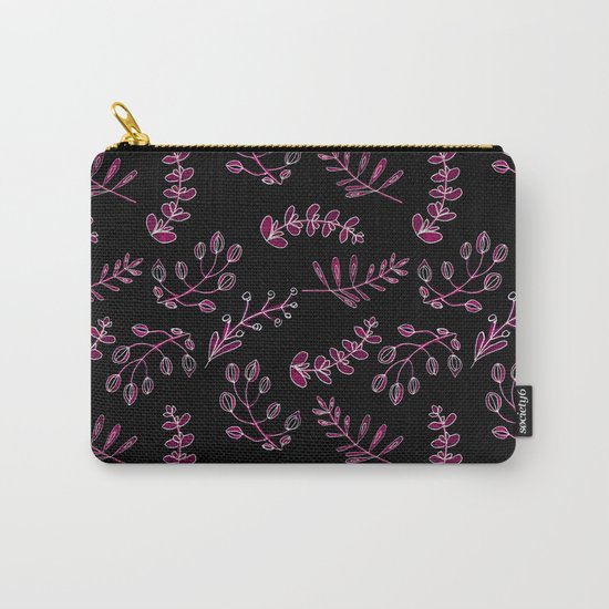 Seamless watercolor blue flowers pattern on black background Carry-All Pouch