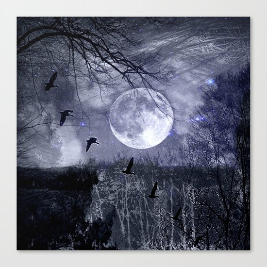 full moon in the woods Canvas Print