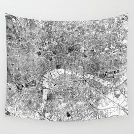 Vintage Map of London England (1860) BW Wall Tapestry
