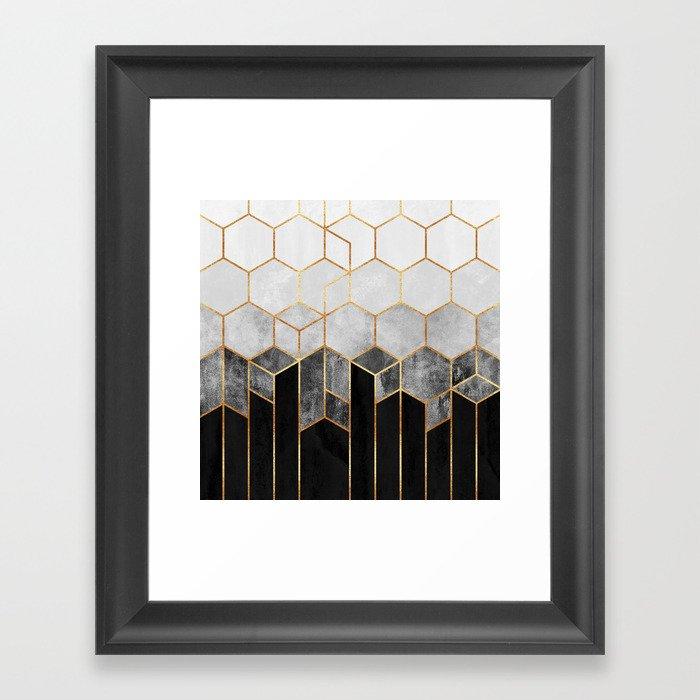 Charcoal Hexagons Gerahmter Kunstdruck