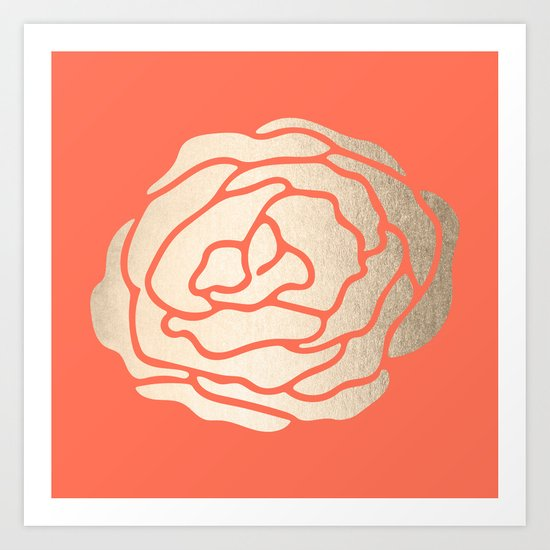Rose White Gold Sands on Deep Coral Art Print