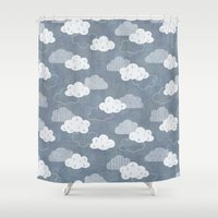 clouds Shower Curtains featuring RAIN CLOUDS by Daisy Beatrice