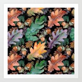 Colorful Woodland Watercolor Oak And Acorn Pattern Art Print