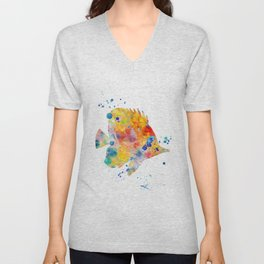 Butterfly Fish Watercolor Painting Unisex V-Neck