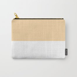 White and Sunset Orange Horizontal Halves Carry-All Pouch