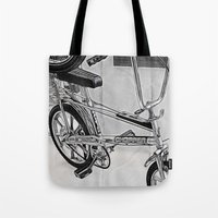 70s Tote Bags featuring 70s Iconic Bike Uk by Paul & Fe Photography
