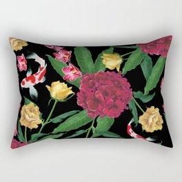 Black Tropical Rectangular Pillow