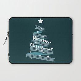 Blue Christmas Ribbon Tree Laptop Sleeve
