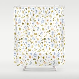 Watercolor Leaf Pattern Shower Curtain