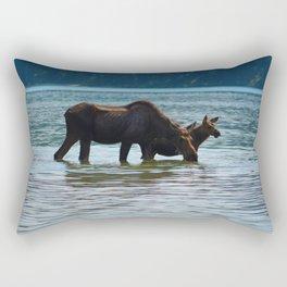 Mother moose and calf in Jasper National Park Rectangular Pillow
