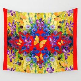 RED GARDEN  PURPLE FLOWERS YELLOW BUTTERFLIES Wall Tapestry