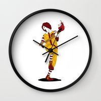 french fries Wall Clocks featuring McDonald's Burn French Fries by pexkung