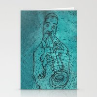 louis armstrong Stationery Cards featuring Louis Armstrong by Cristina Curto