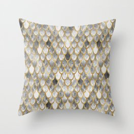 Marble Mermaid Scales Throw Pillow