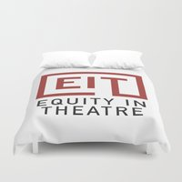 theatre Duvet Covers featuring Equity in Theatre by PlaywrightsGuild
