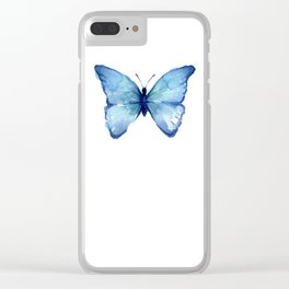 Blue Butterfly Watercolor Clear iPhone Case