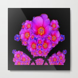 Colorful Purple-Red Fuchsia Flowers Black Modern Art Design Abstract Metal Print