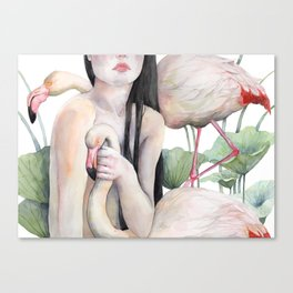 Rosy, the girl with the flamingo soul Canvas Print