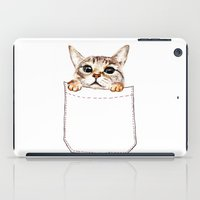 pocket fuel iPad Cases featuring Pocket cat by Anna Shell