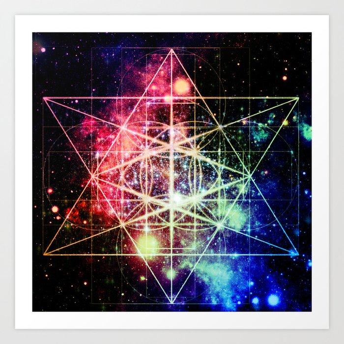 Rainbow Flower of Life : Sacred Geometry Kunstdrucke