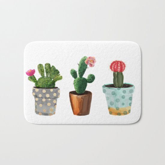 Three Cacti With Flowers On White Background Bath Mat