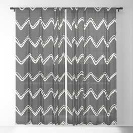 Moroccan Horizontal Stripe in Black and White Sheer Curtain