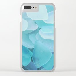Beach Glass, assorted blues Clear iPhone Case