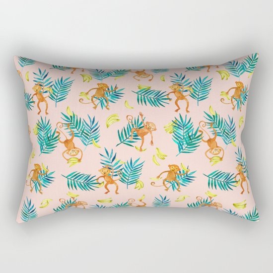 Tropical Monkey Banana Bonanza on Blush Pink Rectangular Pillow