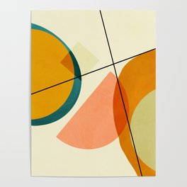 mid century geometric shapes painted abstract III Poster