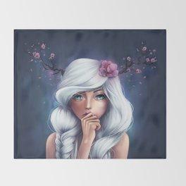 White-haired Girl Throw Blanket