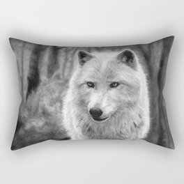 White Wolf in the Forest Rectangular Pillow