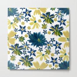 Modern bohemian hand paint floral Metal Print
