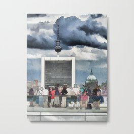 Tourists have a look at Berlin from the Reichstag Metal Print