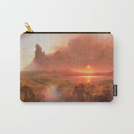 Ecuadorian Andes at Sunset, Cotopaxi volcano plains landscape painting by Frederic Edwin Church Carry-All Pouch